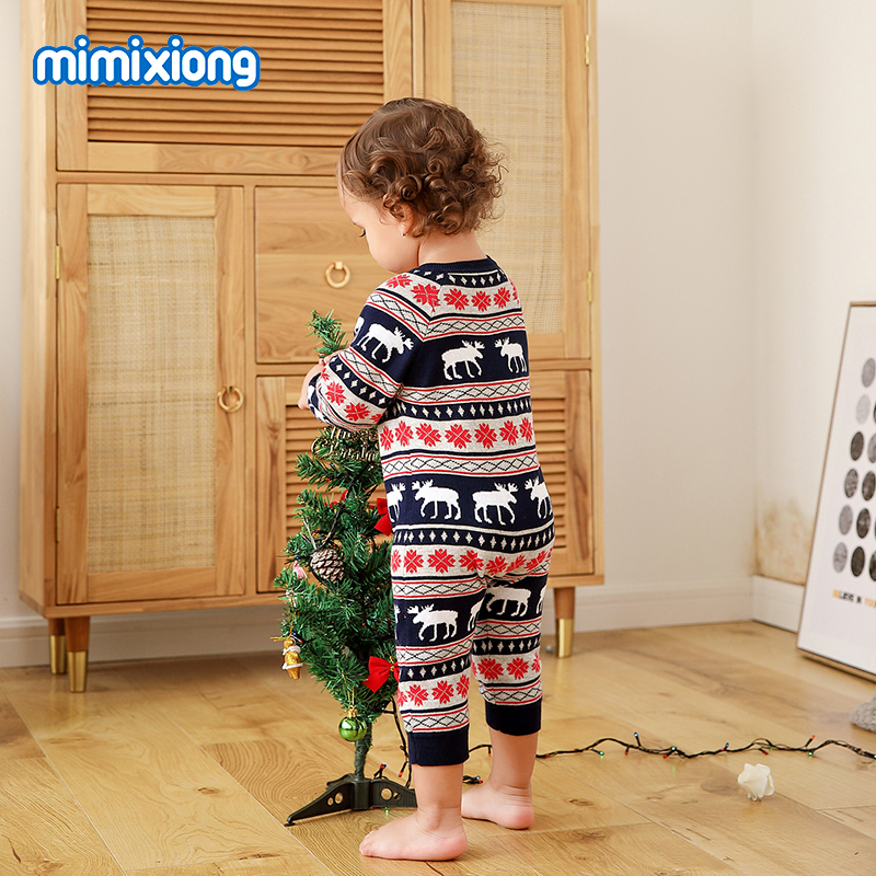 Newborn Baby Girl Christmas Clothes Autumn Full Sleeve Infant Boy Knitted Rompers Winter Casual Toddler Kids Jumpsuits One Piece in Rompers from Mother Kids