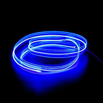 Подсветка для салона автомобиля 1 м/2 м/3 м/5 м полосы Авто Светодиодная лента гирлянда EL провод веревка украшение автомобиля неоновый светодиодный светильник Гибкая канатная трубка - Испускаемый цвет: Синий