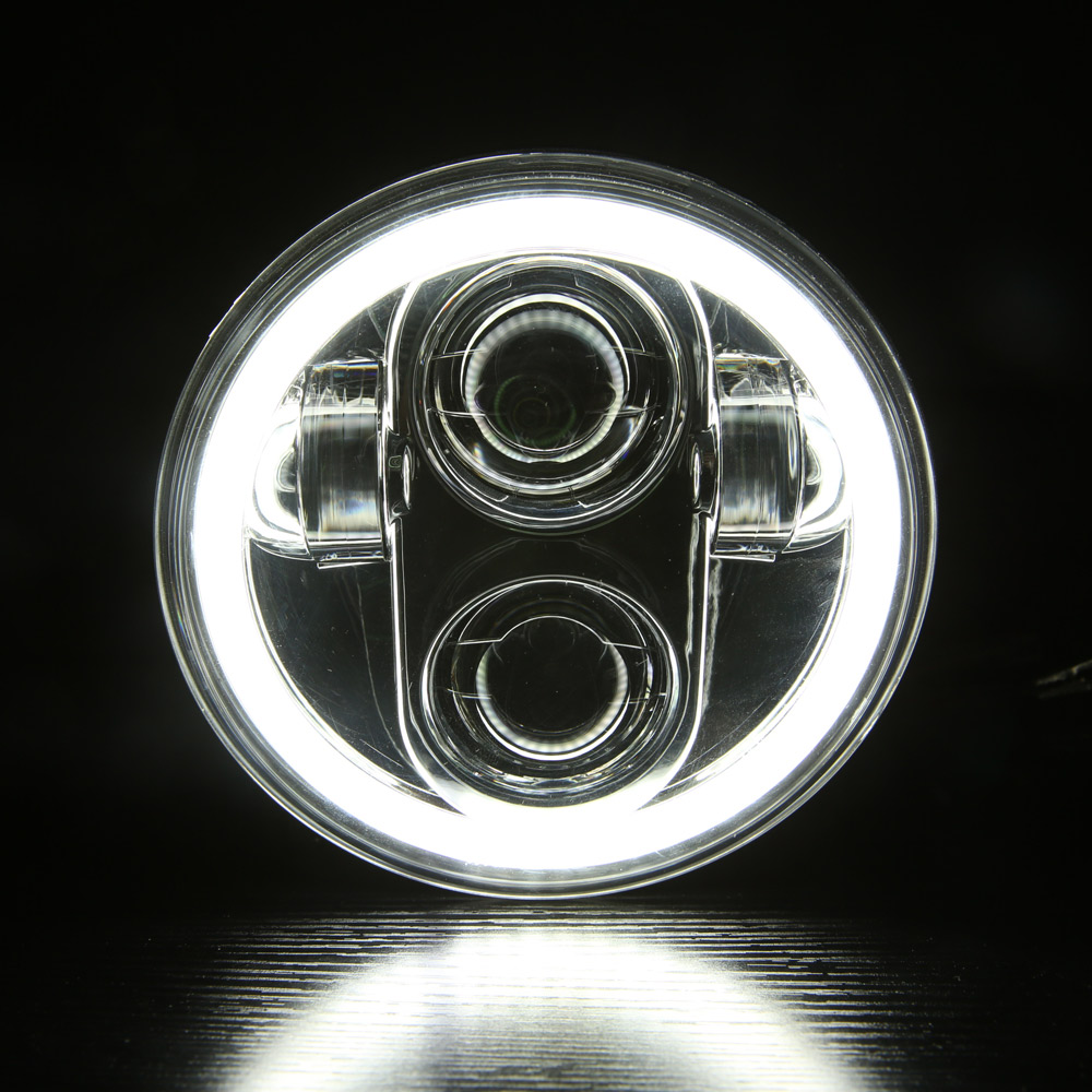 5.75 5 3/4 Inch Moto LED Headlights Full Halo Lights Kit For Night Rod Iron 883 Dyna Sportster 1200 Indian Scout Triumph