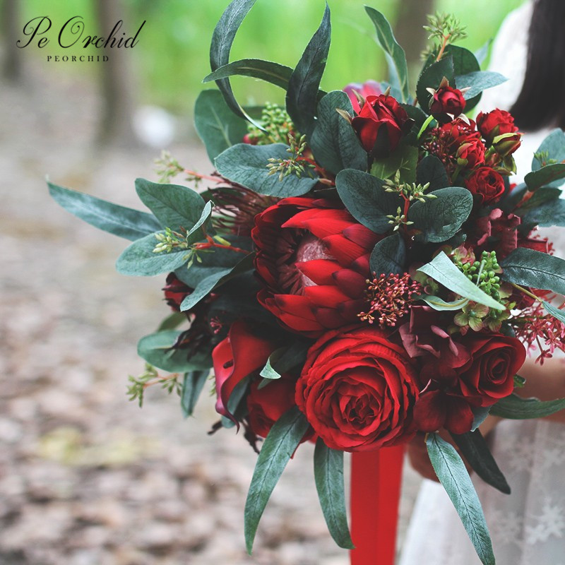PEORCHID Artificial Roses Burgundy Bridal Bouquet Wedding Emperor Flower Eucalyptus European Style Ramo Novia 2020