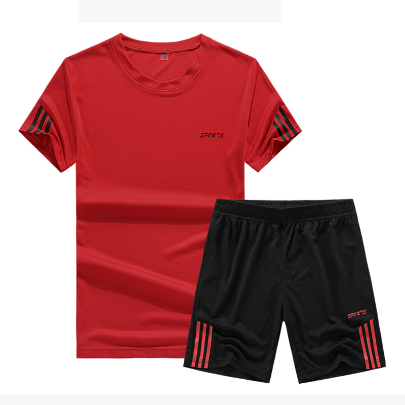 Hot Sales 2019 New Style Teenager Summer Sports Set MEN'S T-shirt Casual Short Sleeve Shorts Two-Piece Set