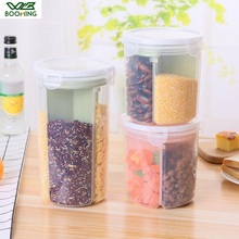 WBBOOMING Rice Beans Storage Jar With Seal Cover 4 Lattices Refrigerator Food Preservation Container Plastic Kitchen Storage Box