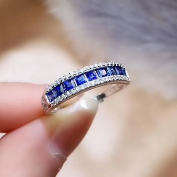 CoLife Jewelry Blue Sapphire Ring for Daily Wear 9 Pieces Natural Sapphire Silver Ring 925 Silver Sapphire Jewelry