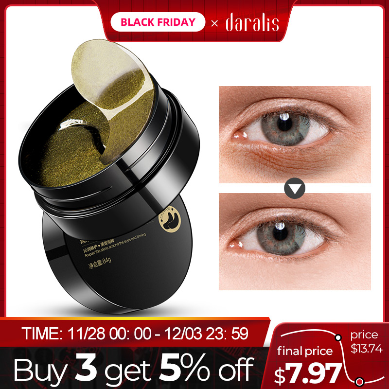 Black Pearl Golden Eyes Hydrogel Patches Repairing Wrinkle Remover Dark Circle Pads Ageless Under Eye Mask 60pcs for Face Care
