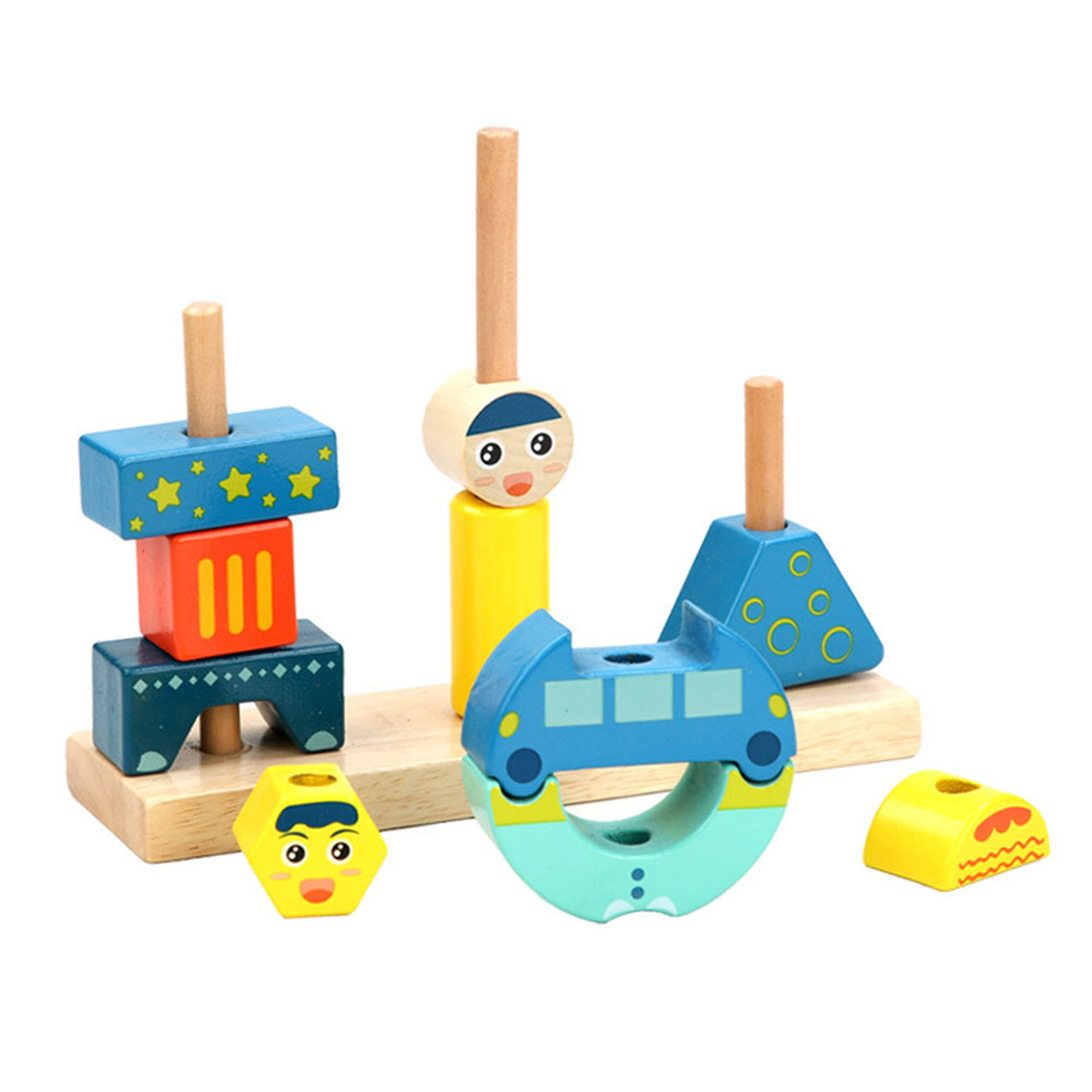 Kids 3D DIY Wooden Assembling Stacking High Bricks Building Blocks Toy Educational Children Building Blocks Hands-on Ability Toy