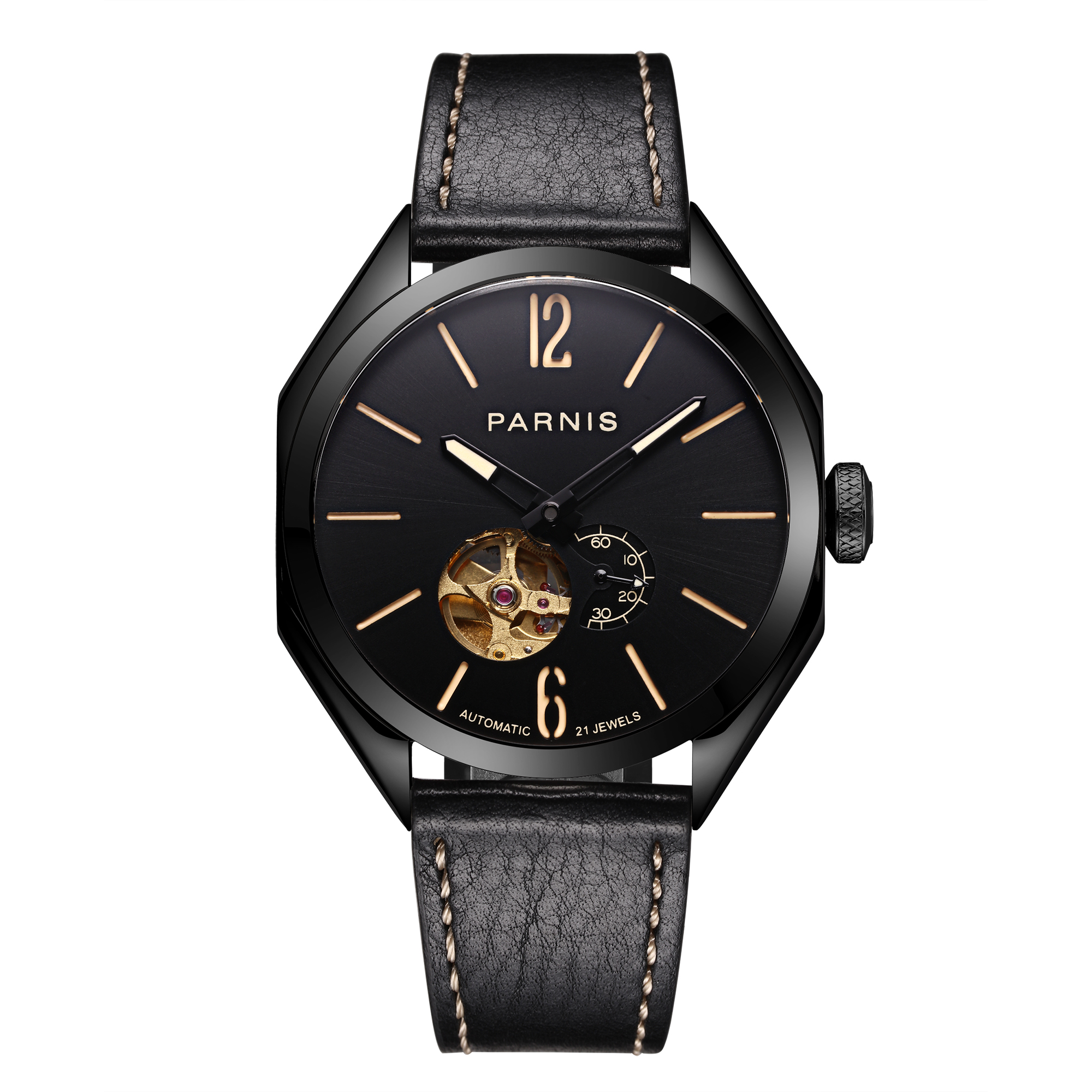 PARNIS 43mm Black Dial Miyota Automatic Mechanical Men Watches Sapphire Glass Luminous Black Case men's Watch Luxury Brand 2019