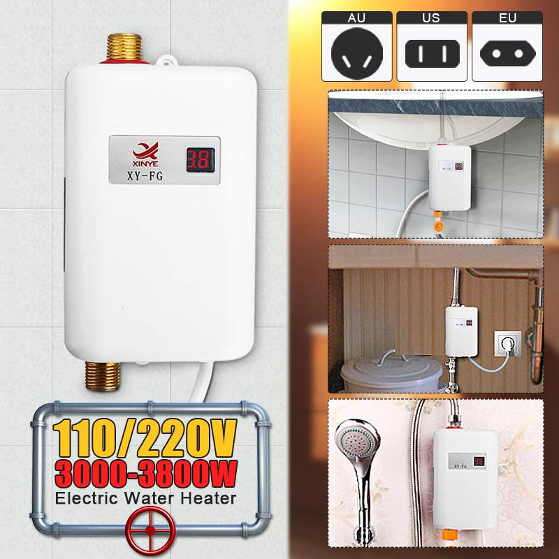 Mini Tankless LCD Digital Water Heater Instant Hot Faucet Kitchen Heating Thermostat  Intelligent Energy-save Waterproof
