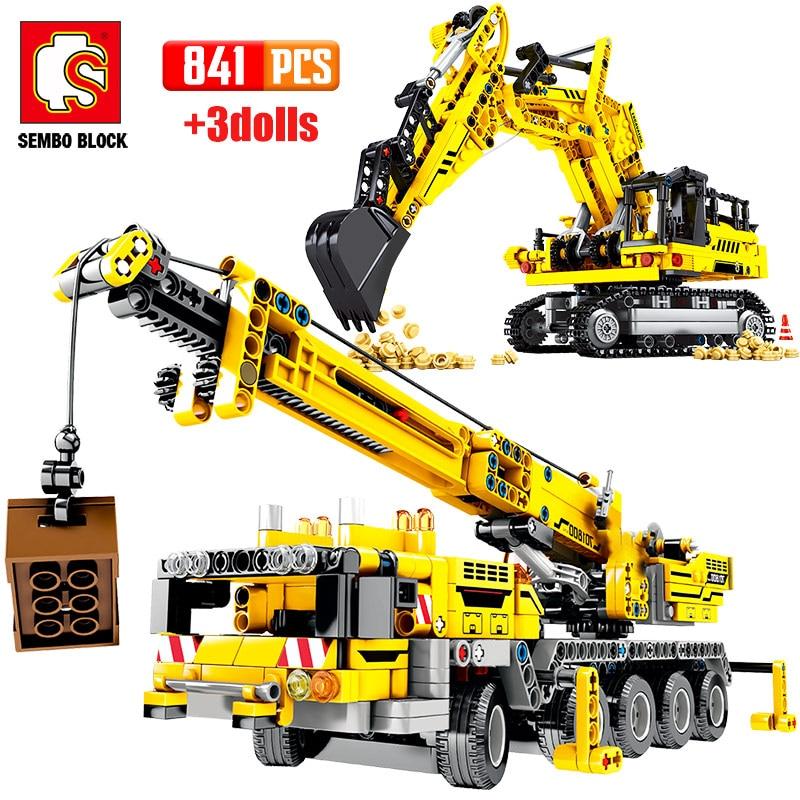SEMBO Technical Crane Truck Building Blocks