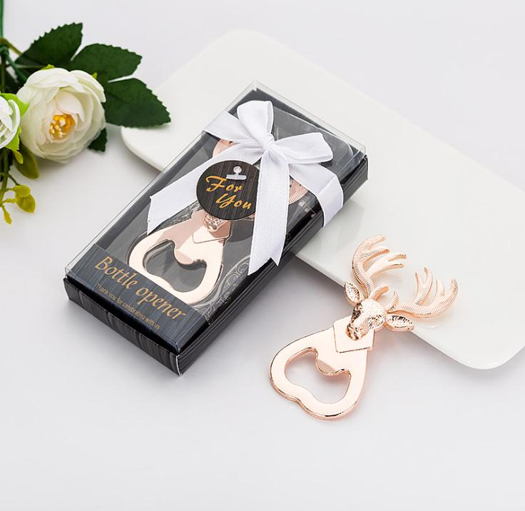 Free Shipping 100pcs/lot New Vintage Deer Head Beer Bottle Opener Gift Box Package Creative Christmas Gifts Party Favors SN2982