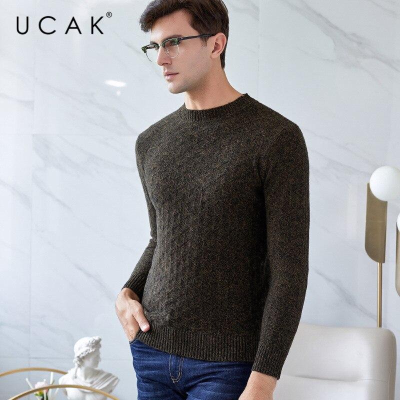 UCAK Brand Sweater Men Pure Merino Wool Casual Thick Warm Autumn Winter Casual Fashion Streetwear Pull Homme Sweaters Men U3132