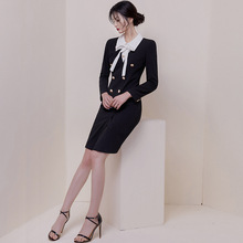 Large Size 2019 Long Sleeve Peter Pan Collar Bodycon Dress Women Double Button Midi Dresses Ladies OL Office Work Autumn Dress цена 2017