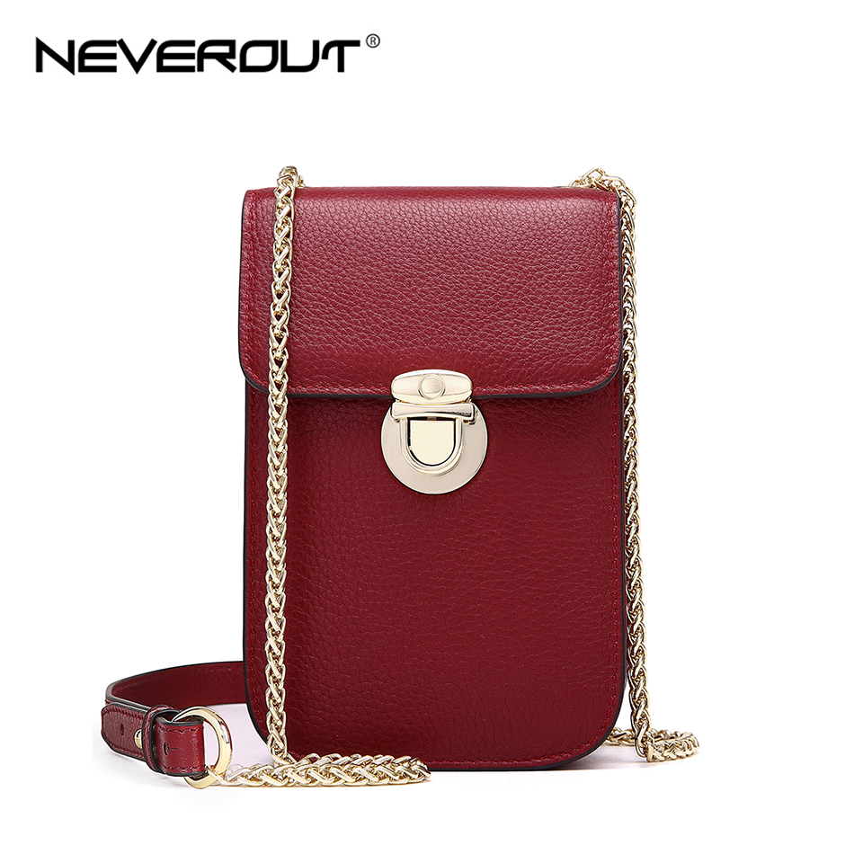 NEVEROUT Genuine Leather Mini Fashion Cellphones Purse Shoulder Bags Sac a Main Small Flap Bag Cross