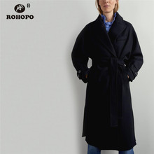 цена на ROHOPO  Lapel Collar Belted Split Hem Black Midi Blend Coat Front Pockets Lace Up Buttons Cuff Solid Long Coat #2152
