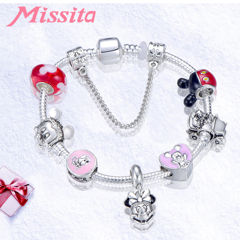 MISSITA Cute Mickey Series Bracelets with Lovely Minnie Pendant Brand Bracelet for Women Anniversary Party Gift in Charm Bracelets from Jewelry Accessories