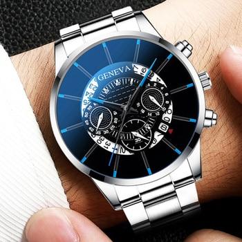 цена 2020 Fashion Mens Watch Quartz Classic Black Wristwatch Steel Belt Luxury Calendar Business Watch Herren Uhren Gifts for Men онлайн в 2017 году