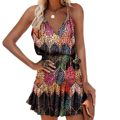 Летние Y2k в винтажном стиле, элегантное, женское платье с v-образным вырезом, без рукавов, с принтом, с оборками на подтяжках размера плюс, жен...