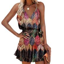 Summer Y2k Vintage Elegant Women's Dress V-neck Printed Sleeveless Ruffled Suspender Plus Size Lady Dresses 2021 Vestidos