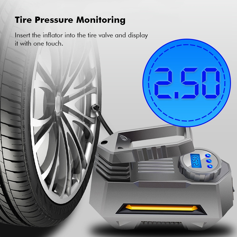 Air Compressor Pump Inflator Portable For Car Truck Tire Lcd Digital Pressure Monitoring Display 12V Car Truck Bicycle Tool