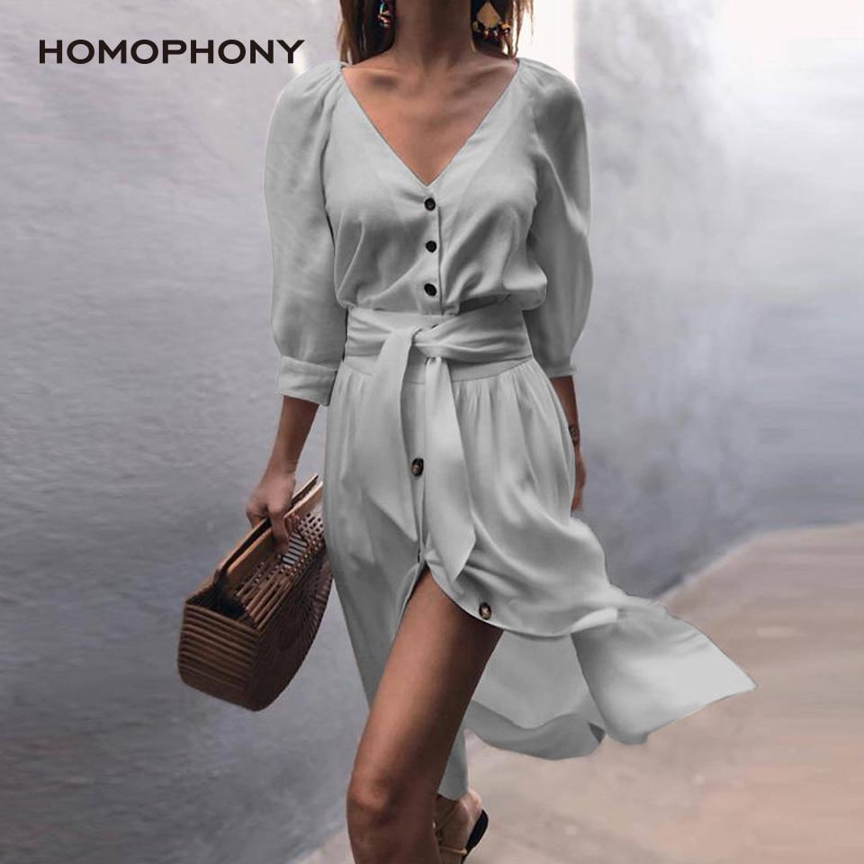 Vestido de camisa de homophony elegante das senhoras do escritório vestido de outono 2020 lanterna manga moda lado split feminino vestido midi
