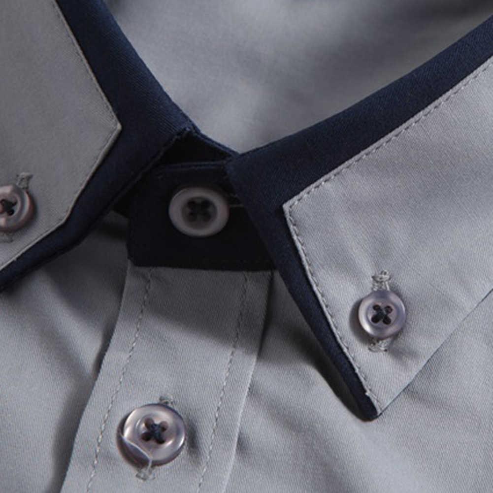 男性のための品質フレンチカフスカバーボタン折り襟ロング無地ビジネス男性ブラウストップ