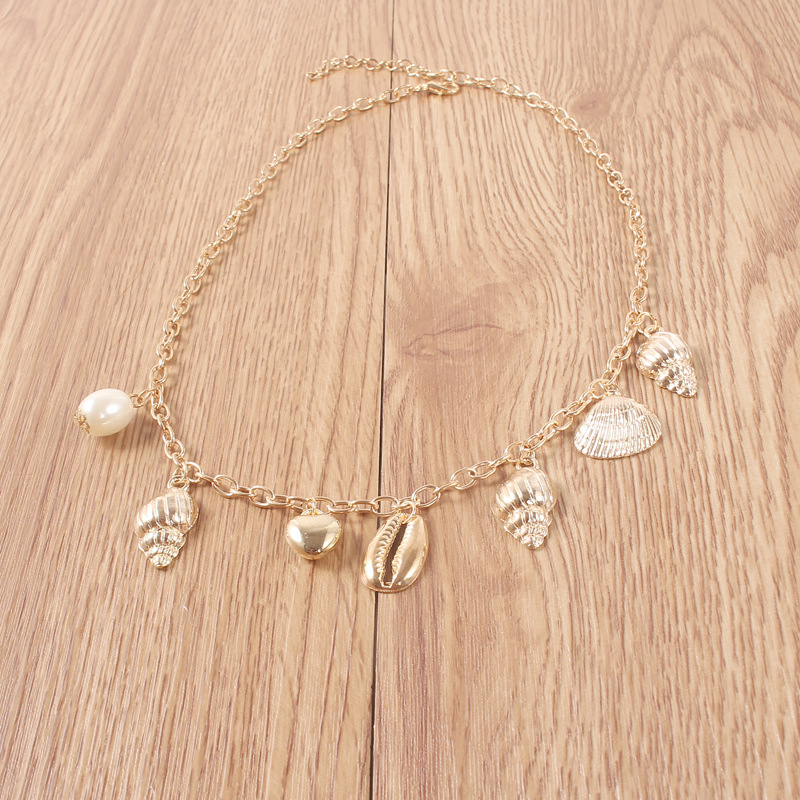 Alloy Scallop Conch Shell Pendant Necklaces for Women Short Necklace Bohemia Gold Color Clavicle Chain 2019 Fashion Jewelry