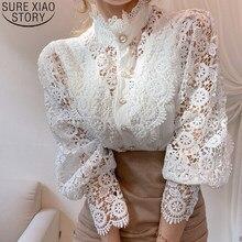 Biały Patchwork guzik do koszuli drążą topy w koreańskim stylu szykowny koronkowy bluzka kobiety stojak na kwiaty kołnierz Blusas rękaw z płatkami bluzki 12419