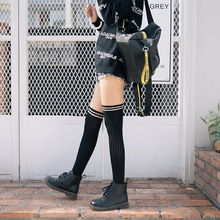 Spring and Autumn New Over-the-Knee Socks Japan fashion Cotton Two-bar College Wind Piles High Womens Boots