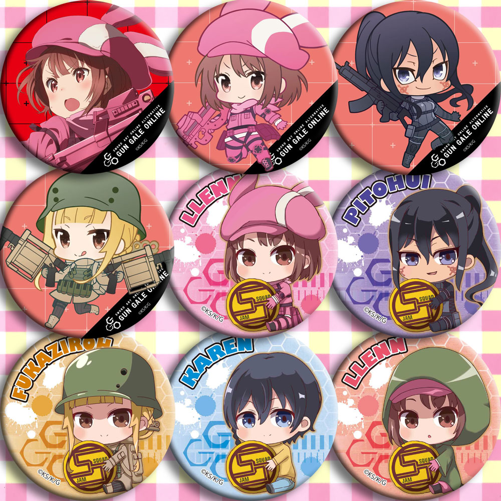 Brdwn Sword Art Online Gun Gale Online GGO Kohiruimaki Karen Pitohui Fukaziroh Kirito Cosplay Badge