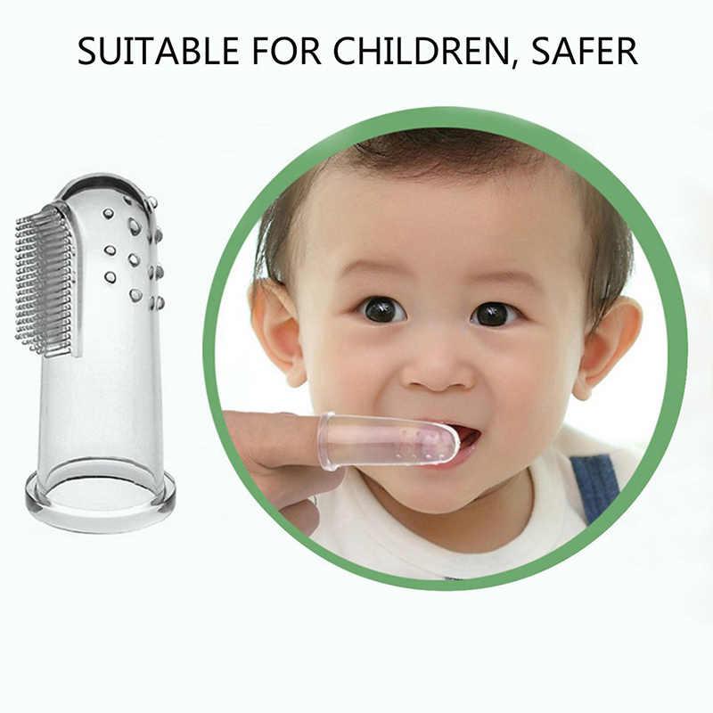 Moda cuidados de saúde oral bebê criança macio silicone dedo escova de dentes & goma massageador escova limpa dentes do bebê cuidados orais