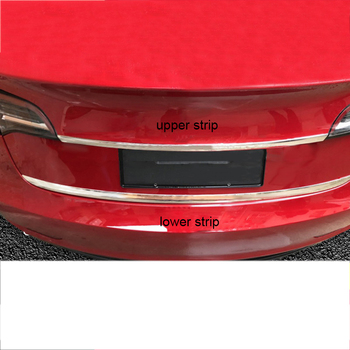 Lsrtw2017 for Tesla Model 3 Car Trunk Tailgate Strip Trims Interior Accessories Chrome 2018 2019 2020 Stainless Steel