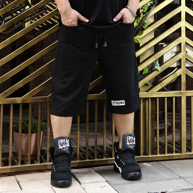 Summer New Style Japanese-style Large Size Men's Trousers Casual Elastic Plus-sized Men's Trousers Sports Capri Pants