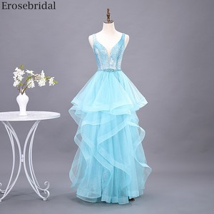 Image 1 - Erosebridal スカイブルーのロングドレス 2020 新ファッションティアードロングフォーマルドレスイブニングパーティーオープンバック v ネック