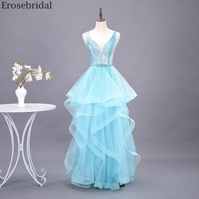 Erosebridal スカイブルーのロングドレス 2020 新ファッションティアードロングフォーマルドレスイブニングパーティーオープンバック v ネック