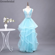 Erosebridal Sky Blue Long Prom Dress 2020 New Fashion Tiered Gown Long Formal Dress Evening Gown Party Open Back V Neck