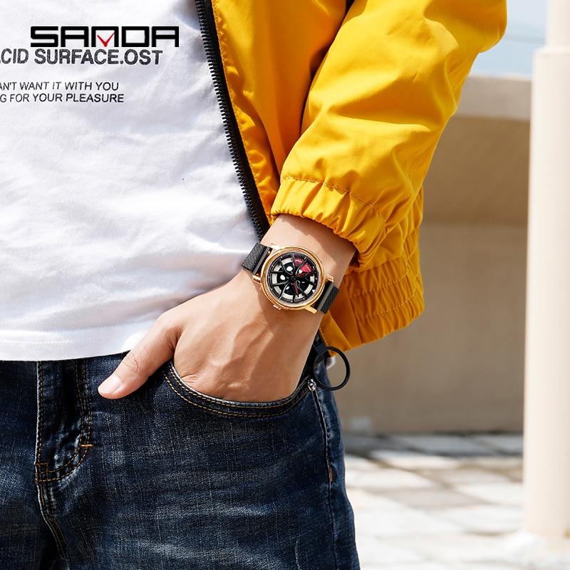 Image 5 - ساعة SANDA الرجالية الأعلى مبيعًا لعام 2020 ، ساعة أنيقة فاخرة ذات عجلات دوارة إبداعية ، ساعات بمشبك مغناطيسي ، هدية مثالية ، ساعة رجالية 1025ساعات الكوارتزالساعات -