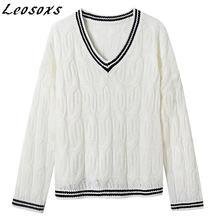 Leosoxs простой винтажный свободный женский свитер с v образным