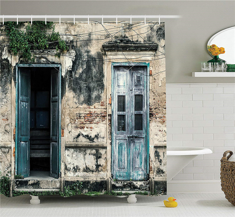 Rustic-Shower-Curtain-Doors-of-An-Old-Rock-House-with-French-Frame-Details-in-Countryside-European