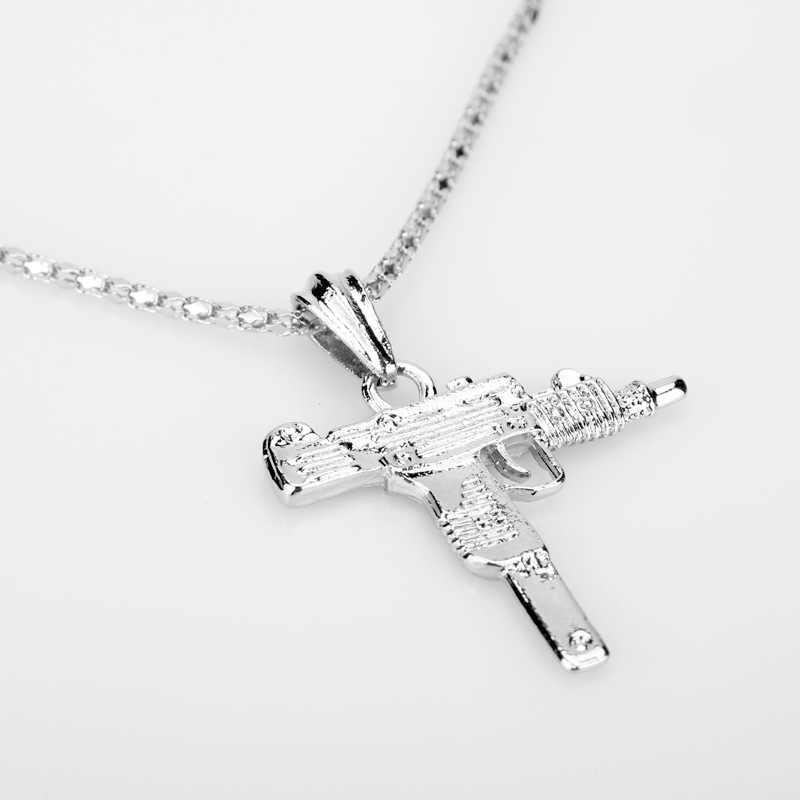 2019 novo metal ouro pistola arma uzi pingente colar homem mulher hiphop gótico-rifle link corrente colar de aço inoxidável jóias