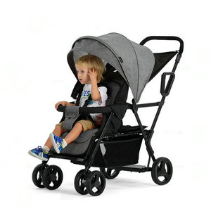 Image 5 - תאומים בייבי עגלת קל משקל יילוד עגלת תינוק יכול לשבת ולשכב כפול מושבי תינוק עגלות קל מתקפל Trave Pram