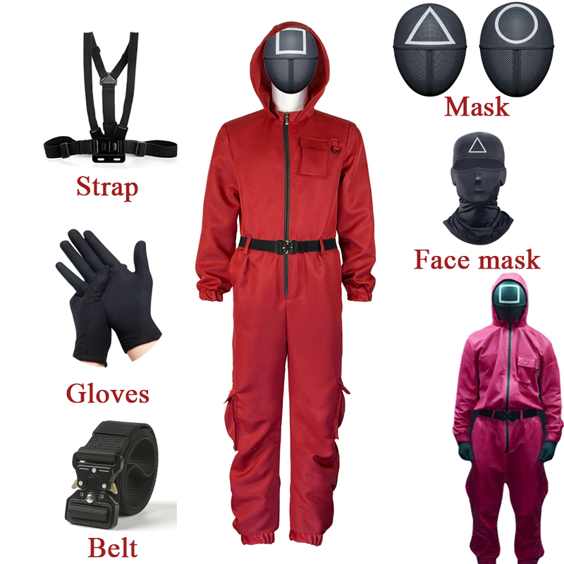 Squid Game Cosplay Costumes Mask Villain Role Play  Round Six Red Jumpsuit Uniform Set Costumes For Adult Halloween