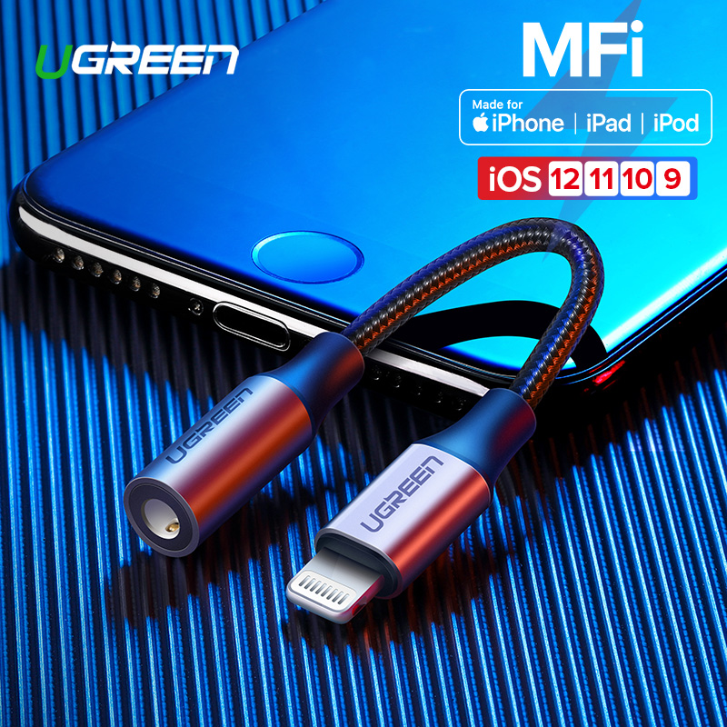 Ugreen MFi Lightning to 3.5mm Jack AUX Cable for <font><b>iPhone</b></font> 11 Pro X XS XR 8 <font><b>7</b></font> 3.5mm Lightning 3.5 Headphones Audio <font><b>Adapter</b></font> Splitter image