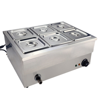 Commercial Electric Bain Marie Buffet Food Warmer Stainless Steel Soup Pot Heating Pool Heat Preservation Machine (3/4/6 Grids)