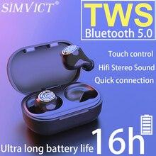 Simvict W6S TWS kablosuz bluetooth 5.0 kulaklık spor kablosuz kulak kulaklık koşu mikrofonlu kulaklık taşınabilir müzik kulaklıkları