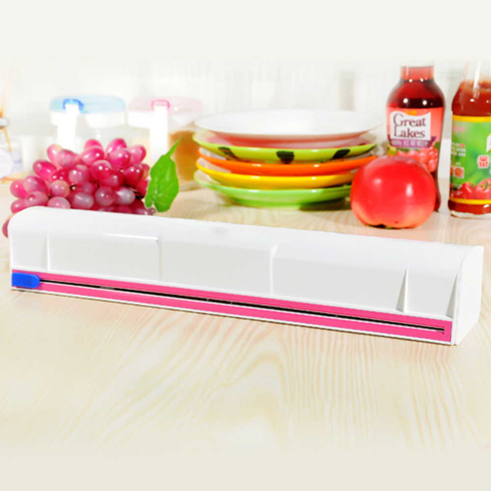 Kitchen Plastic Film Wrap Cling Dispenser Cut Food Storage Holder Cutter 1 Pcs