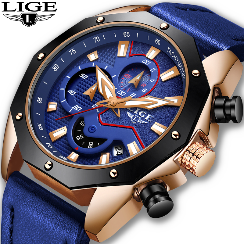 LIGE Watches Men's 2019 Luxury Brand Men Military Sport Quartz  Clock Man Casual Leather Waterproof Wristwatch Relogio Masculino