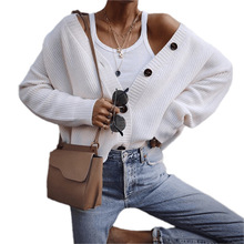 White Knitted Women Cardigan Sweater Autumn Long Sleeve V-Neck Single Breasted Button Cardigan Women Casual Loose Girls Sweaters button up v neck flat knitted cardigan