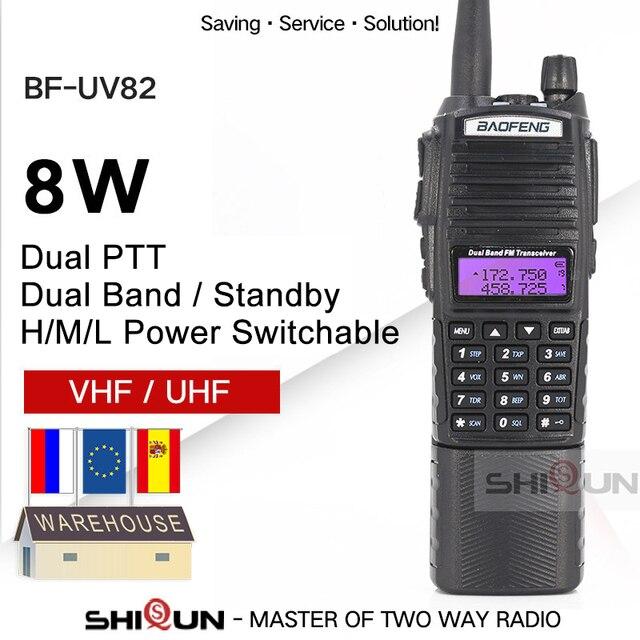 Agrandir 3800mAh UV 82 8W Baofeng UV 82 Talkie walkie 10 KM Baofeng 8W Radio Double PTT UV XR UV 9R GT 3TP Jambon Radio 10 KM UV 5R 8W