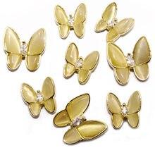 10 Uds 2020 nuevo uñas ornamento de la mariposa 3-dimensional superllamativas de red nueva de uñas rojo ópalo de decoración arco de circón de diamante