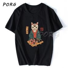 Neko Sushi Cat Japanese Anime Men T Shirt Ulzzang Hip Hop Co