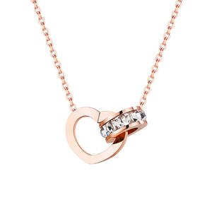 Love Choker Collier Necklace Jewelry Rhinestone Rose-Gold Stainless-Steel Heart Women